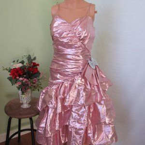 Nadine Formals Pink Dress Metallic Look Union Made